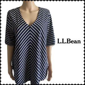 L.L BEAN Striped Blouse Size 1X Plus Size Top